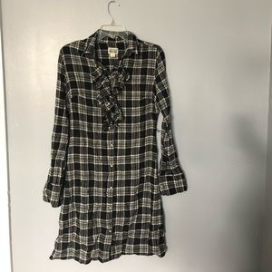 Converse | Long Sleeved ruffle check dress | S
